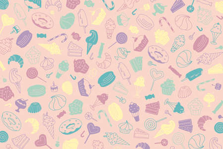 Light pink sweets background. Editable illustration. Doodle muffins, cakes, candies, cupcakes, ice cream, lollipops Vettoriali