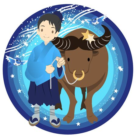 Illustration of Hikoboshi of the Star Festival Stock Photo