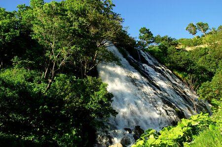 tourist spot: Oshinkoshin Falls,a famous tourist spot in Shiretoko ,Hokkaido,Japan