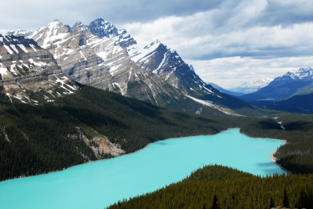 tourist spot: Peyto Lake,famous tourist spot,with turquoise blue water,Canadian Rockies ,Canada