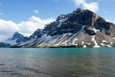 Emerald green Bow Lake in spring,Canadian Rockies ,Canada