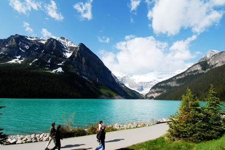 tourist spot: Lakeside of Lake Louise,a famous tourist spot in Canadian Rockies  inscribed ,Canada