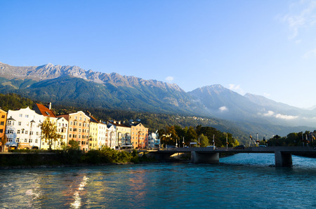 Innsbruck old town, the Inn River and Nordkette in the Morning Tyrol (Austria)
