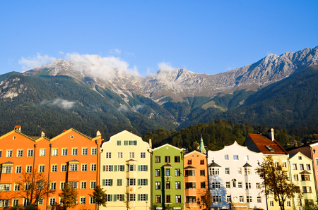 inn: Innsbruck old town and Inn River in the Morning Tyrol (Austria)