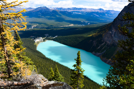 Lake Louise Overlooking from Big Beehive in Autumn, Canadian Rockies Stock Photo