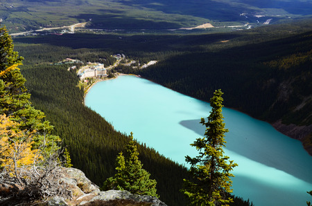 Lake Louise Overlooking from Big Beehive in Autumn, Canadian Rockies