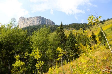 rockies: Yamnuska in Autumn, Canadian Rockies Stock Photo