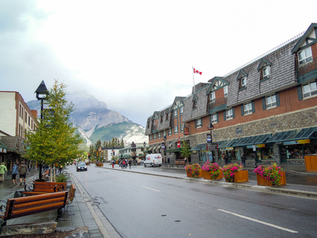 rockies: Townscape of Banff After the Rain, Canadian Rockies