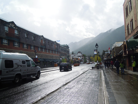 canadian rockies: Townscape of Banff After the Rain, Canadian Rockies