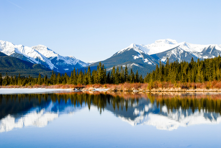 scenic spots: Vermilion Lake at Dawn in Winter, Canadian Rockies, Alberta, Canada
