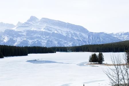 rockies: Two Jack Lake in Winter, Banff, Canadian Rockies, Alberta, Canada