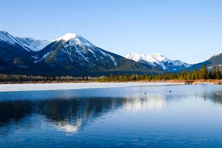 winter sunrise: Vermilion Lake at Dawn in Winter, Canadian Rockies, Alberta, Canada