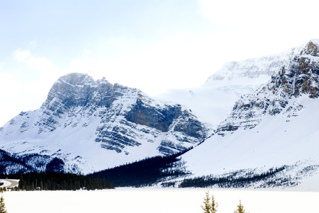 tourist site: Bow Lake in Winter, Canadian Rockies, Alberta, Canada