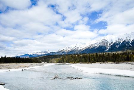River and Mountain Range in Kootenay, Canadian Rockies