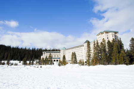 In Winter Hotel at the Side ofLake Louise, Banff National Park, Canadian Rockies