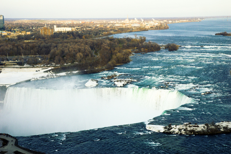 Niagara Falls in the Evening in Winter, Ontario, Canada