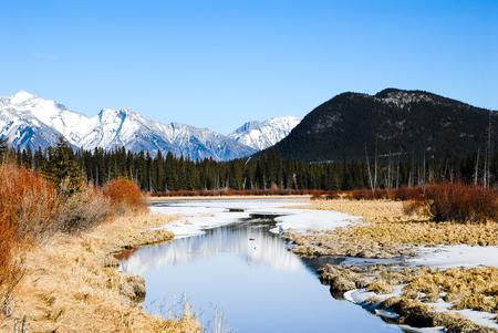 rockies: Vermilion Lake in Winter, Canadian Rockies, Alberta, Canada Stock Photo