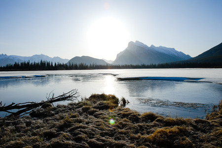 Mount Rundle and Vermilion Lake in the Morning in Winter, Canadian Rockies, Alberta, Canada Stock Photo