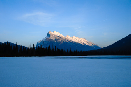 Mount Rundle and Vermilion Lake in the Evening in Winter, Canadian Rockies, Alberta, Canada