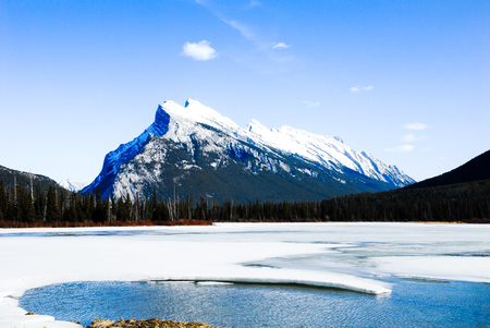 Cascade Mountain and Vermilion Lake in Winter, Canadian Rockies, Alberta, Canada Stock Photo