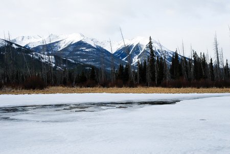 scenic spots: Vermilion Lake in Winter, Canadian Rockies, Alberta, Canada Stock Photo