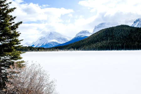 Waterfowl Lake in Winter, Canadian Rockies, Alberta, Canada