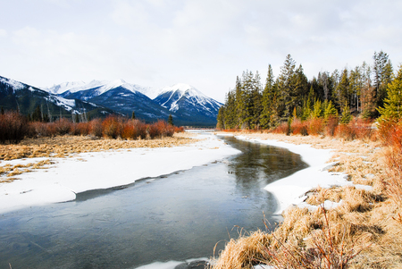 Vermilion Lake in Winter, Canadian Rockies, Alberta, Canada Stock Photo
