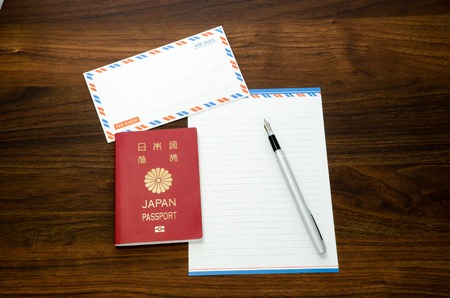 avion: By airmail, Par Avion, in the Hotel When Traveling Abroad Stock Photo