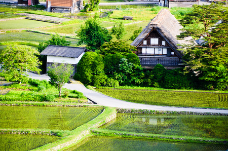 ?????????????????? Shirakawa-go in the Spring Evening, UNESCO World Heritage Sites, Japan