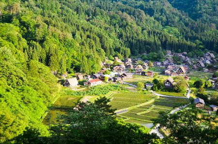 sho: Shirakawa-go in the Spring Evening, UNESCO World Heritage Sites, Japan Stock Photo