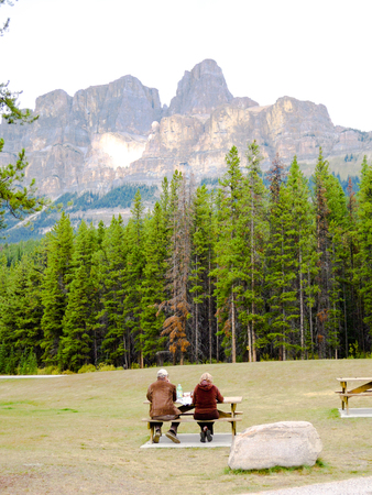 Lunch while viewing the Castle Mountain, Canadian Rockies