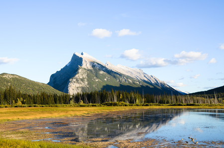 Mount Rundle and Vermillion Lake in Autumn Evening, Canadian Rockies Stock Photo - 84418042