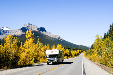 The Icefield Parkway and yellow leaves,Canadian Rockies (inscribed on the UNESCO World Heritage list),Canada Editorial