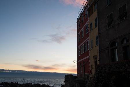 Riomaggiore in the dusk, Cinque Terre (5 Terre), Five village on the Italian Riviera, Liguria, Italy