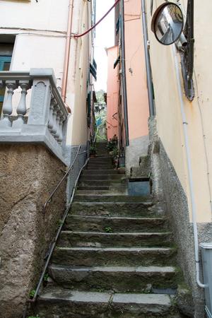 Stairs in Riomaggiore-Cinque Terre (5 Terre), Five village on the Italian Riviera, Liguria, Italy