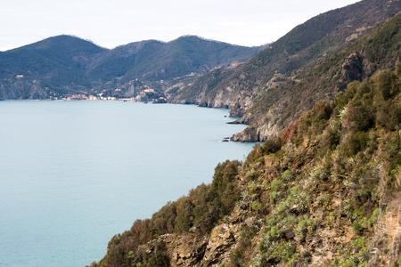 Distant view of Monterosso al Mare from Corniglia-Cinque Terre (5 Terre), Five village on the Italian Riviera, Liguria, Italy