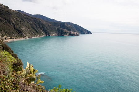 Distant view of Manarola from Corniglia-Cinque Terre (5 Terre), Five village on the Italian Riviera, Liguria, Italy