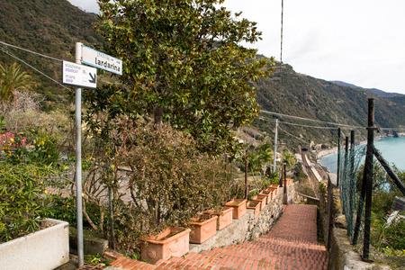Path to Railway station from village-Cinque Terre Corniglia (5 Terre), Five village on the Italian Riviera, Liguria, It Aly