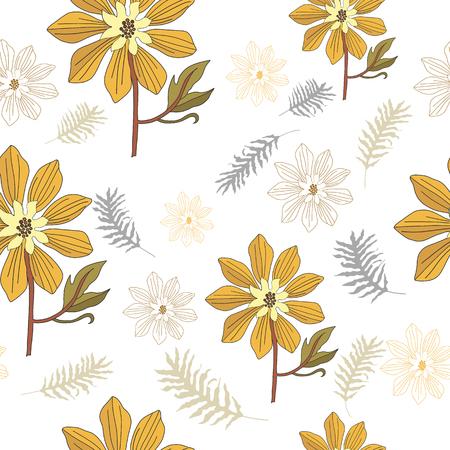 hand drawn yellow flower seamless pattern