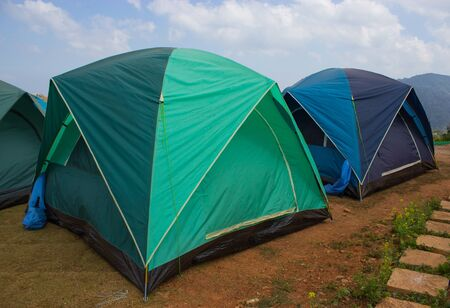 Two tents on the high mountain photo