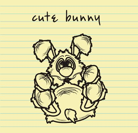 inscription notebook: rabbit drawn in pencil in notebook sheet and inscription cute bunny Stock Photo