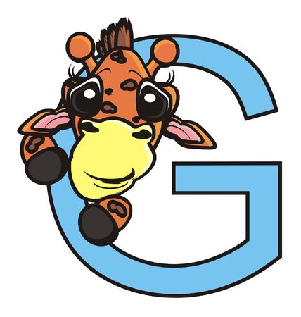 look out: muzzle giraffe sticks out in the letter G Stock Photo