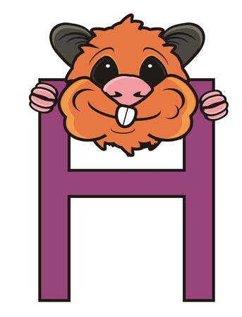 look out: Muzzle hamster sticking to the letter H