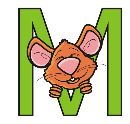 snout: mouse snout sticking to the letter M