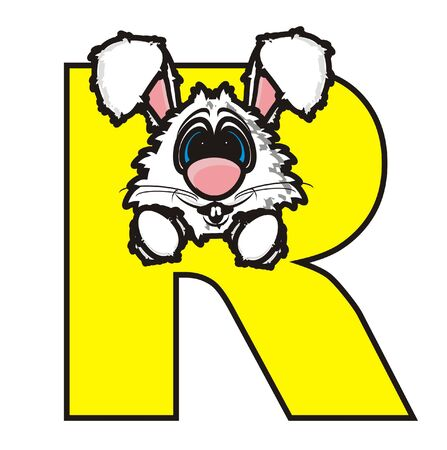 snout: rabbit snout it is sticking to the letter R Stock Photo