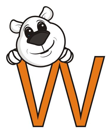 look out: white bear muzzle sticks out in the letter W