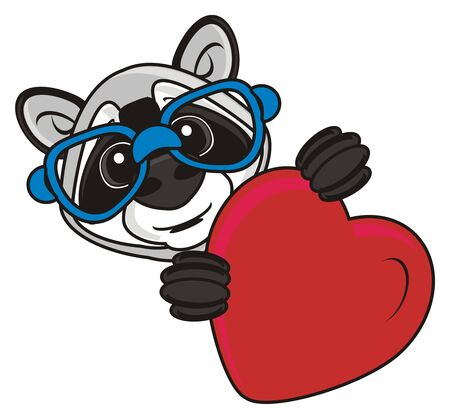 look out: raccoon in glasses holding red heart