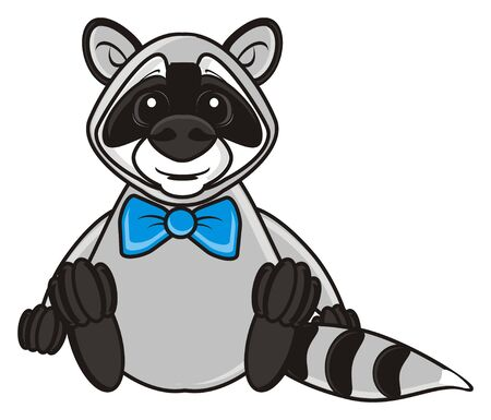 butterfly bow: raccoon butterfly sits with a bow