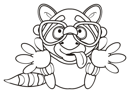 outstretched: Coloring raccoon wearing glasses and with his tongue hanging out sitting legs outstretched for hugs Stock Photo