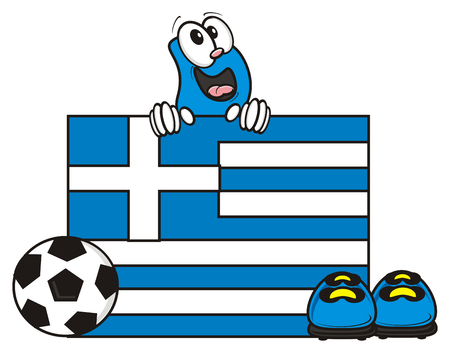 kick around: Greece flag and soccer ball with Bootsy Stock Photo